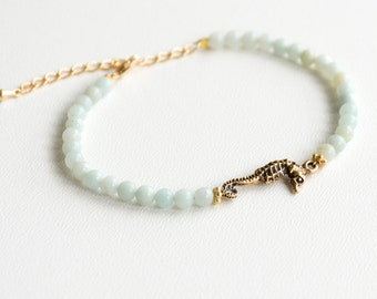 Seahorse Bracelet Amazonite Beach Bracelet Friendship Bracelet Beaded Bracelet Seahorse Jewelry Nautical Bracelet Boho Bracelet Gift for Her