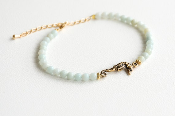 Seahorse Bracelet Amazonite Beach Bracelet Friendship Bracelet Beaded Bracelet Seahorse Jewelry Nautical Bracelet Boho Bracelet Gift for Her