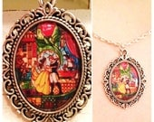 Beauty and the Beast Necklace, Stain Glass Cameo Necklace