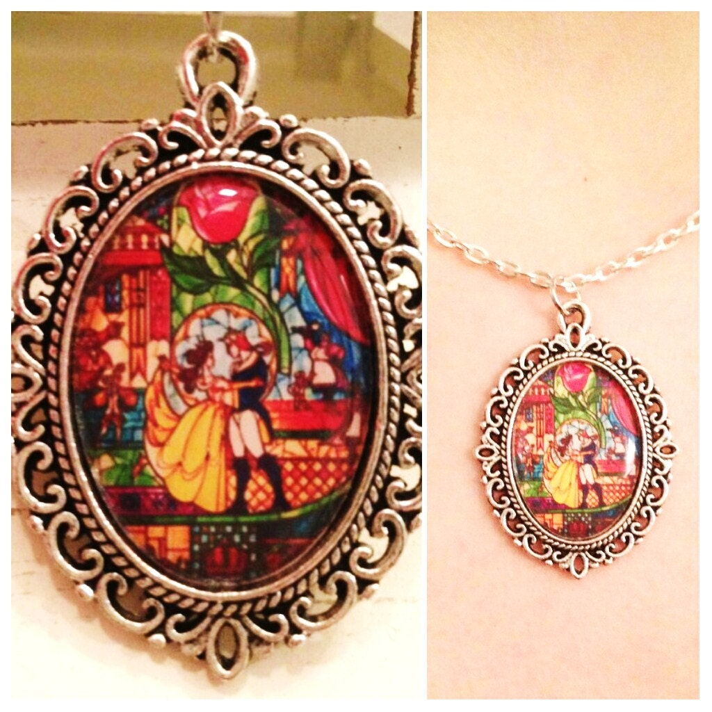 beauty and the beast necklace stain glass by thefangirlsattic