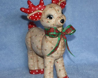 Hand painted Ceramic Christmas Reindeer Softy Standing painted with a Holly Berry prints to look stuffed & a plaid ribbon