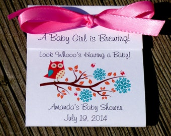 Look Whooo's Having a Baby Owl Baby Shower  Tea Bag Sprinkle Favors for Baby Girl Boy Twins CIJ