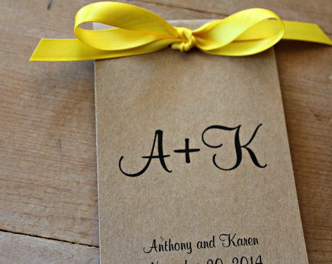 Monogrammed Wedding Favors Flower Seed Favors Seed Packets Initials Bride and Groom Kraft Paper SALE CIJ Christmas in July