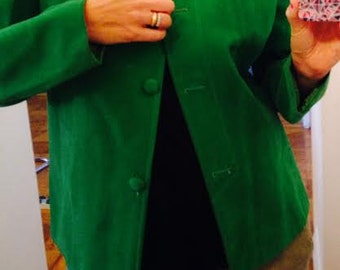 Vintage 1960's/70's Green Faux Suede Boxy Style Jacket