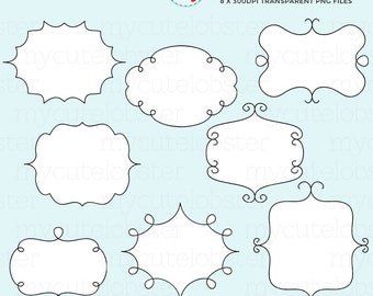 Doodle Frames Clipart Set - clip art set of a doodled frames - personal use, small commercial use, instant download
