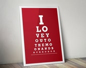 "Home Decor Wall Print ""I Love You To The Moon And Back"" Doctor Eye Exam Chart"