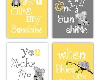"Koala Art // You are my sunshine Art // Yellow and Gray Nursery Art Prints // Nuetral Nursery Decor // 4-5x7"" PRINTS ONLY"