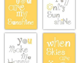 Yellow Nursery Decor // You are my sunshine Art // Yellow and Gray Nursery Decor // Yellow and Grey Art // 4-8x10 PRINTS ONLY Inframed