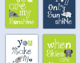 Elephant Art // You Are My Sunshine Art // Lime Green and Navy Blue Art Prints //Art for Boys // Art for Girls // Four PRINTS ONLY