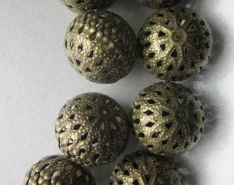 Antique Bronze Iron Filigree Beads 20mm 14 Beads