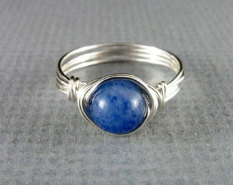Wire Wrapped Ring Blue Aventurine Ring Gemstone Silver Ring Nickel Free Wire Wrapped Jewelry