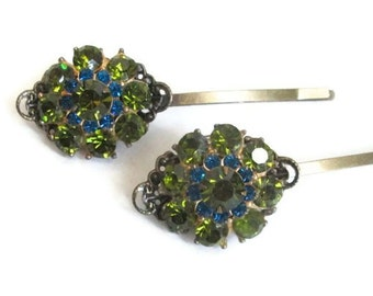 Green Wedding Hairpins Crystal Hair Clips Bridal Fashion Accessories Vintage jewelry