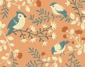 COTTON Acorn Trail HALF Yard Birds and Branches  Girl Woodland Fabrics Birch Organics Forest Animals Coral Pink