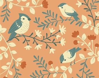 COTTON Acorn Trail Birds and Branches  Girl Woodland Fabrics Birch Organics Forest Animals Coral Pink Hard to Find Out of Print oop htf