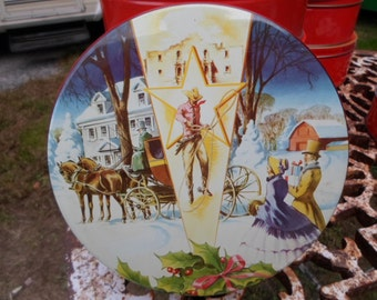 Vintage Fruit Cake Tin Round Christmas Winter Scene Cookies Texas De Luxe Metal Container Storage Sewing Small Tin Embossed 1950s to 60s
