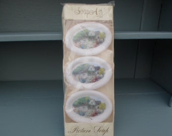 Vintage Picture Soaps of a Farmhouse Design that Doesn't Wash Off Guest Bathroom Decor Pkg of 3