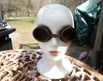 Vintage Metal and Glass Green Goggles In Original Tin Leather Cotton Strap Welding Safety 1940s to 1950s Steampunk