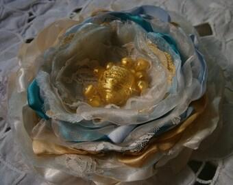 Wedding bridal flower in ivory, aqua and gold with glass beads, Beach wedding flower, Headpiece, Bridal or Bridesmaids hair flower