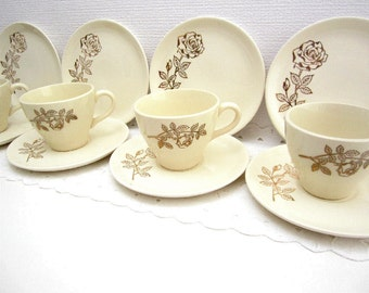 1950s Midcentury Modern Golden Roses Teacup, Saucer, and Dessert Plate Dishes Set for Four, Gold on Ivory Stoneware Ceramic