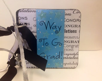 Graduation Chipboard gift card holder black and white Hats off to the Grad