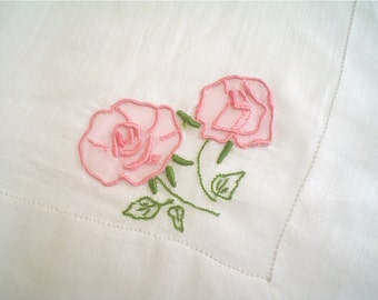 Pink Rose Hankie with Organdy Applique Madeira Embroidery Vintage Handkerchief