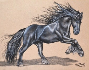8x10 Charcoal Drawing Friesian Horse Print from the Original Number 3