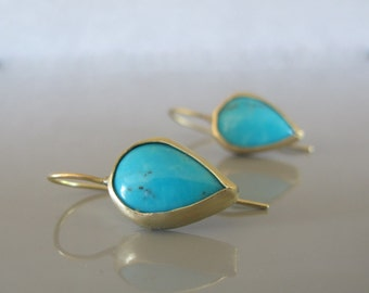 Turquoise drop earrings, 14k gold drop earrings, Turquoise jewelry