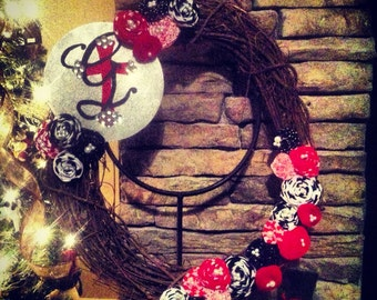 """Black, White, & Red 18"""" Rosette Wreath With Hand Painted Sign"""
