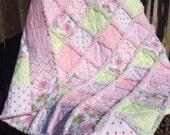 Baby Rag Quilt Handmade Soft Flannels Pastel Colors Pink Green Patchwork Children's Blanket Toddler Bedding