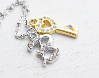 Heart Key Necklace,Skeleton Key Necklace,Bridesmaid Gift,Key to my Heart,Gold Key,Heart Jewelry,Personalized Necklace,Initial,Key Charm