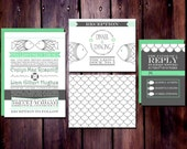 RESERVED - 50% Deposit for Two Less Fish in the Sea - Nautical Wedding Invitation Suite (80 Invitations)