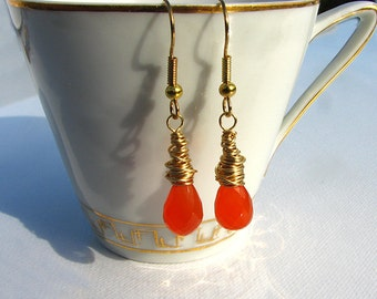 Carnelian dangle earrings, drop earrings, gemstone earrings, gift for her.