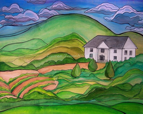 Canvas Print Contemporary Farmhouse Homestead in the Hills  by Lauren Tannehill ART