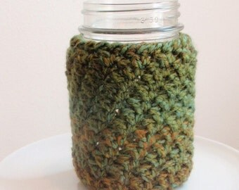 Crochet Jar Cover - Rainforest Green Tan Brown 16 oz. PINT Size Gift for Her, College Koosies, Beverage Jar Cozy, Back to School