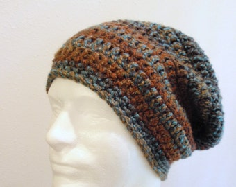 Unisex Slouch Beanie, Eco friendly, Vegan,  Blue and Brown Slouchy, Striped, Trendy Slouchy Beanie, Mens Slouch, Back to School