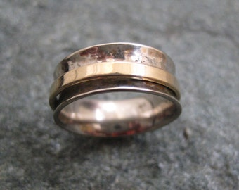 White Gold and Yellow Gold Wedding Ring--Anticlastic with Spinner Ring