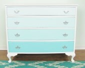 Ombre French Vintage Dresser, Turquoise Blue 4 Drawer Ombre and White Dresser, Hand Painted, Silver Hardware, Aqua Blue Painted Furniture
