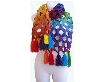 Rainbow scarf warm lovely chic elegant unique kauni lace wool wedding