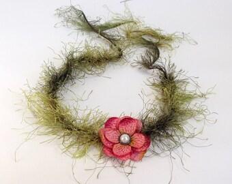 Mauve Pink Flower Crown Headband - Newborn Halos, Newborn Photography Prop, Flower Girl Forehead Tie Headband Fairy Tale Collection