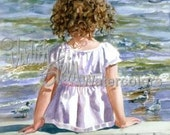 "Beach Girl Watch Seagull Sea Bird, Seashore Seascape, Brown Curls, Children Watercolor Painting Print, Wall Art, Home Decor, ""Bird Watcher"""