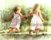 """Girl Friends Sisters Children, Run in Green Grass, Meadow, White Dress, Watercolor Painting Print, Wall Art, Home Decor, """"Free as a Bird"""""""