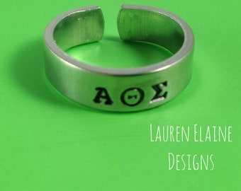 Custom Hand Stamped Aluminum Fraternity or Sorority Skinny Ring- Add the Greek Name