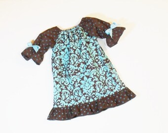 Girls Boutique RUFFLE PEASANT DRESS Size 3mo to 8  Fall School Clothes 6mo 12mo 18mo 24mo 2T 3T 4T 5 6 7 8