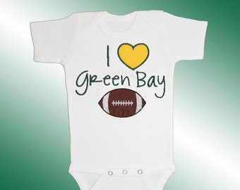 Baby Bodysuit Jersey Shirt - I Love Green Bay Football Applique - Embroidered Short or Long Sleeved - Free Shipping