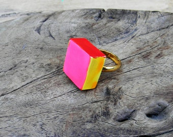 Vintage Ring Enamel Cubist Cocktail Ring 1960s