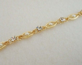 A-103. 30 cm, Gold plated,  H- 2345, CZ and Pearl Chain