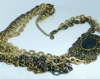 Vintage Robert Rose Unique Multi Chain Offset Cameo Necklace