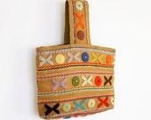 40s Wristlet Bag Burlap Crewelwork Embroidery Wrist Purse, pop color simple 1940s soft fabric rustic peasant boho handbag hands free clutch