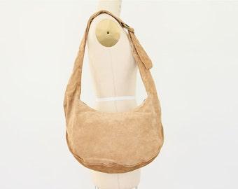 80s Hobo Bag, Tan Suede Cross Body Purse Adjustable Strap neutral sand boho oversize slouchy hipster New Wave leather crescent shoulder bag