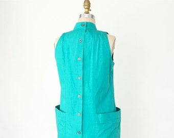 80s Turquoise Dress, New Wave Avant Garde Pleated Jumper, sleeveless oversize pocket high neck preppy shirtdress shift hipster midi sundress